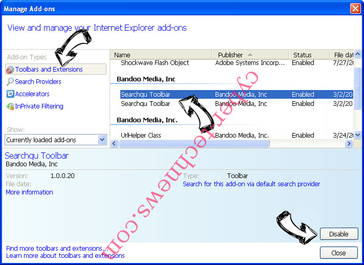 Search.dssearchhelper.com IE toolbars and extensions