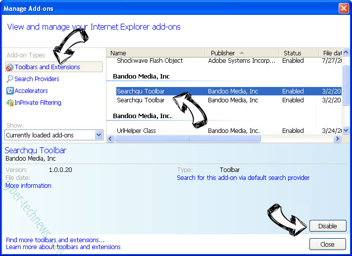Search.searchjsfd.com IE toolbars and extensions