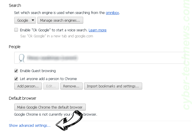 Checkmailsnow.net Chrome settings more
