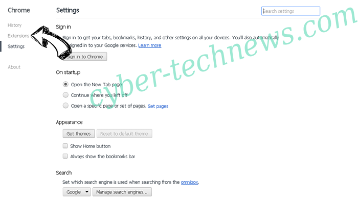 Search.easyprivacyswitch.com Chrome settings