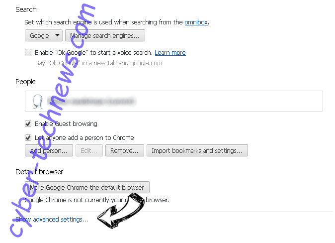 Search.dolanbaross.com Chrome settings more