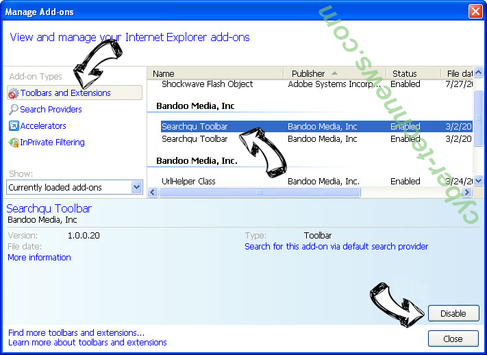 Main.exosrv.com IE toolbars and extensions