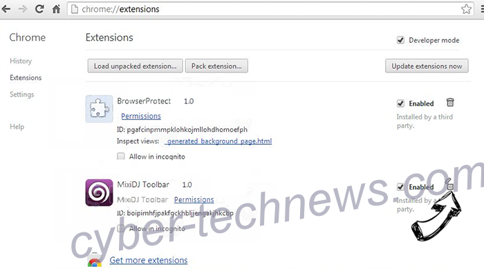 Disticsolarships.info Chrome extensions remove