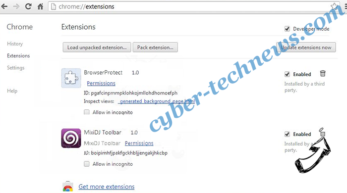 Project Free Tv Virus Chrome extensions remove