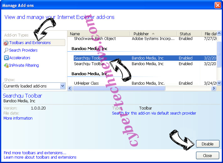 Geting.pro pop-up ads IE toolbars and extensions