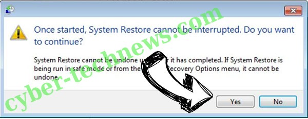 SystemCrypter ransomware removal - restore message