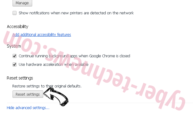 NameSync adware Chrome advanced menu