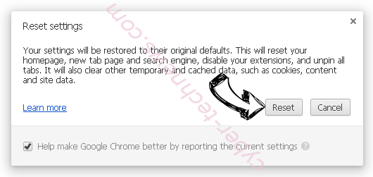 NameSync adware Chrome reset
