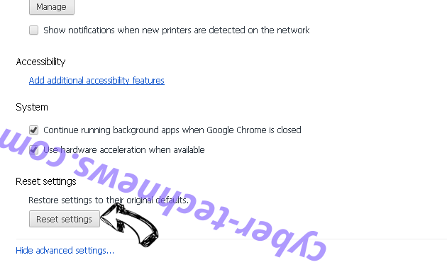 Searchitnow.info Chrome advanced menu