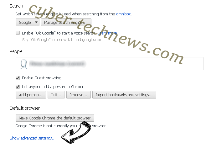 Slicksearch.com Chrome settings more