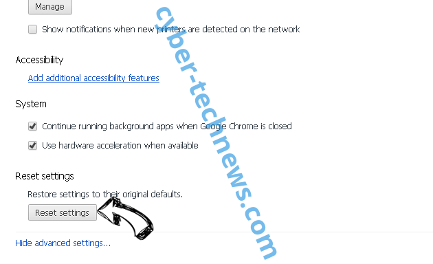 DirectionsOnline Search Redirects Chrome advanced menu