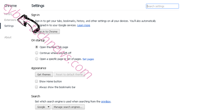 Searchbaron.com Chrome settings