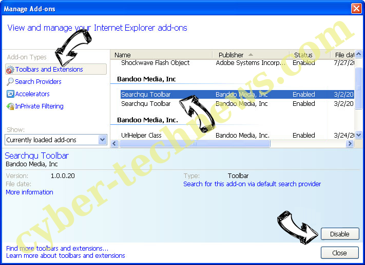 DirectionsOnline Search Redirects IE toolbars and extensions