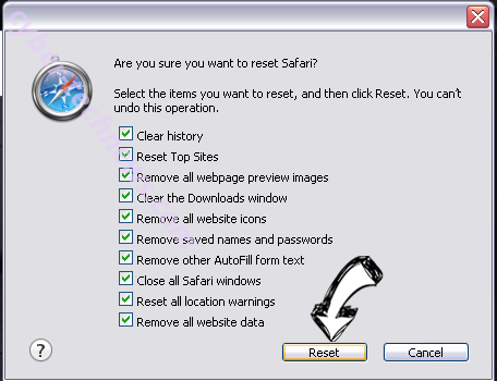 Quick Weather Search browser hijacker Safari reset