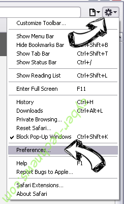 DigiSaver virus Safari menu
