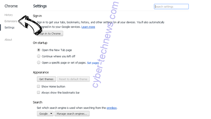Search.freebibleverse.com Chrome settings