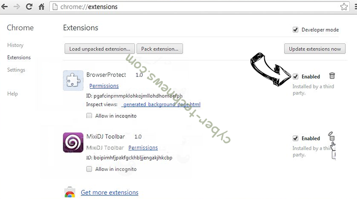 Apsearch.xyz redirect Chrome extensions disable