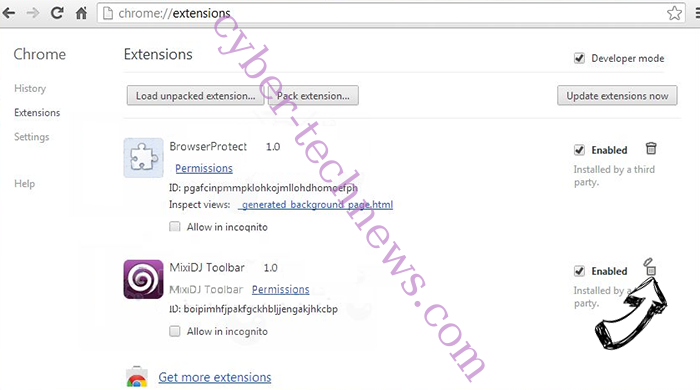 Apsearch.xyz redirect Chrome extensions remove