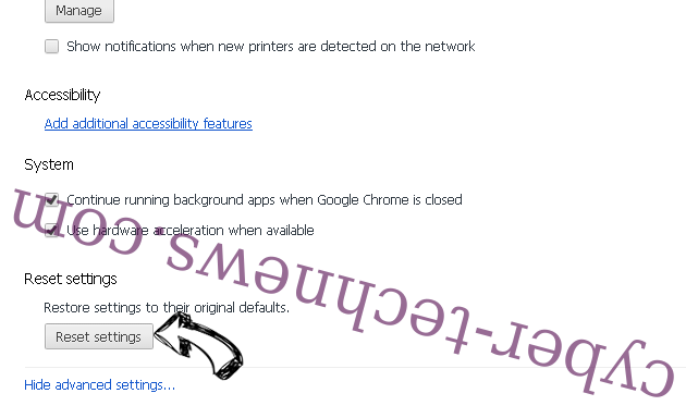 Searchroute virus Chrome advanced menu