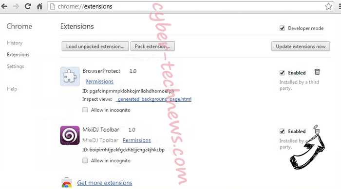 ESearch virus Chrome extensions remove