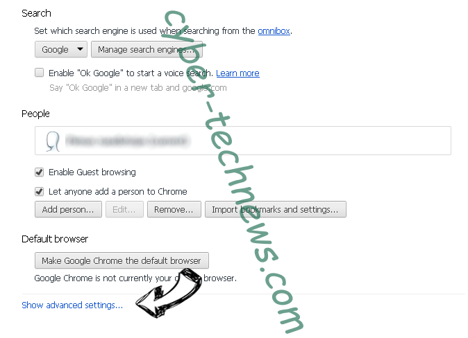 MSrch extension virus Chrome settings more