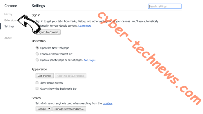 Searchou virus Chrome settings