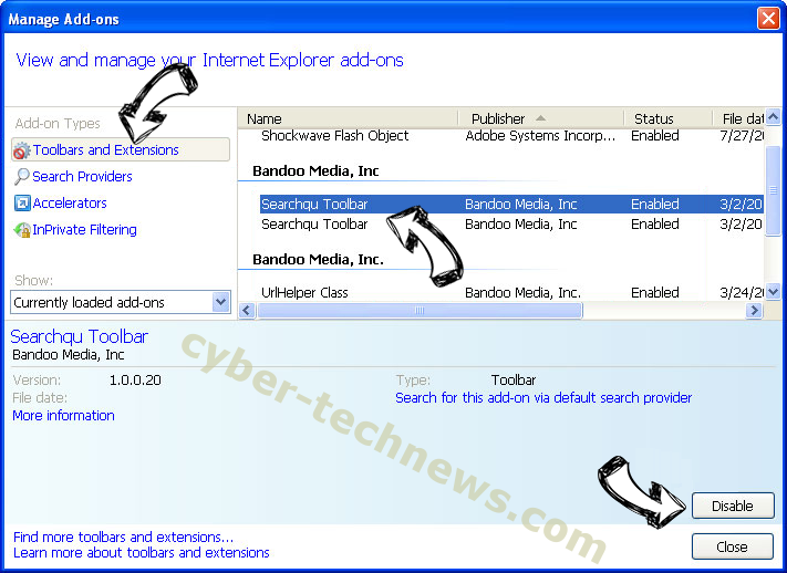 MSrch extension virus IE toolbars and extensions