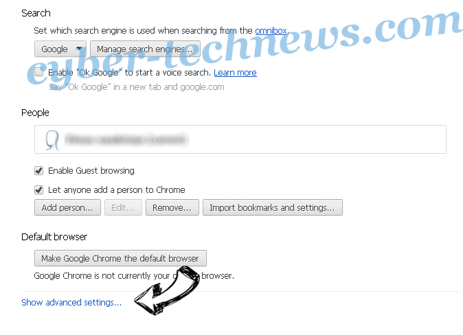 Redirectoptimizer.com Chrome settings more