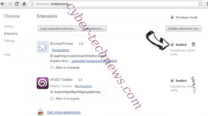 Metedbuenge.info virus Chrome extensions disable