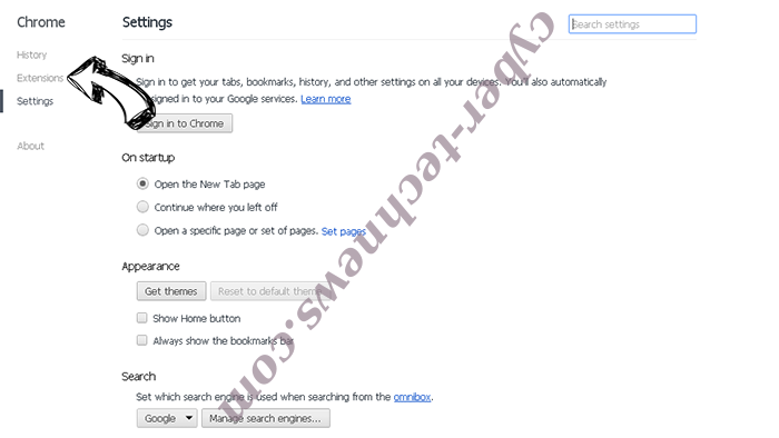 Soptarpushs.com virus Chrome settings