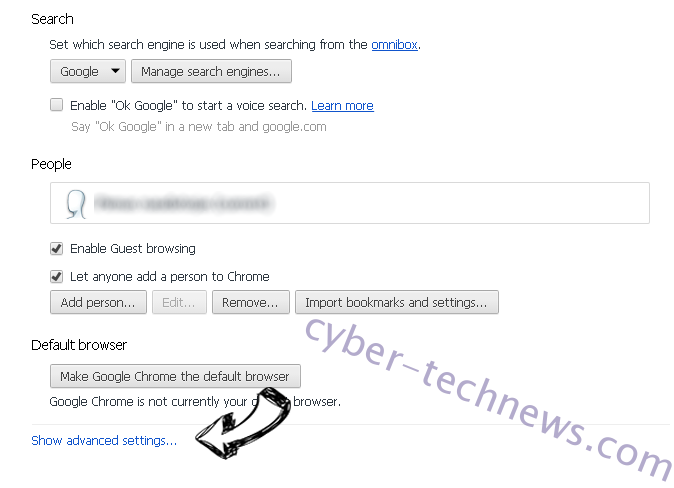 Optimalsearch.me Chrome settings more
