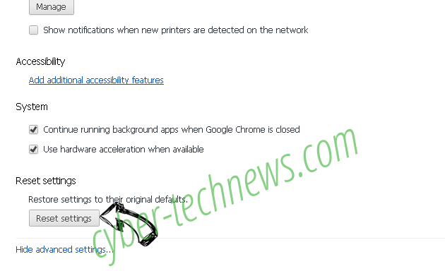 Advertise ads Chrome advanced menu
