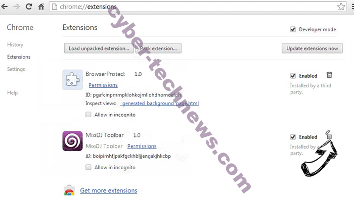 TotalRecipeSearch virus Chrome extensions remove