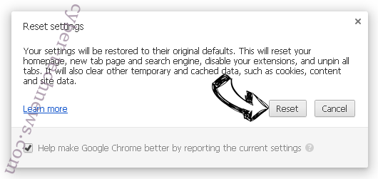 Advertise ads Chrome reset