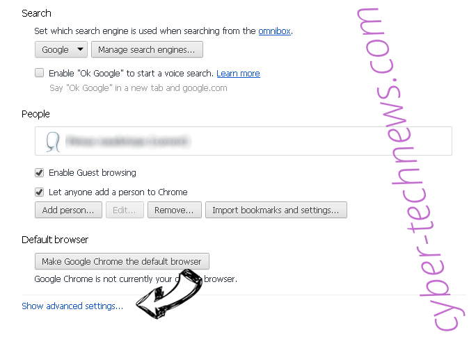 Checkingforward Chrome settings more