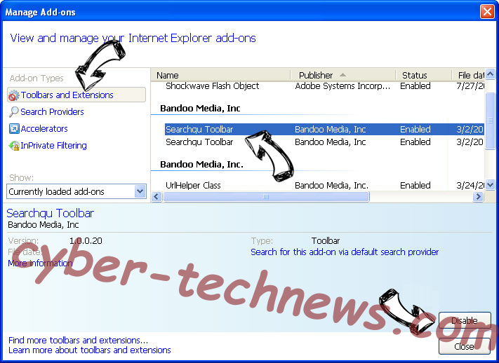Checkingforward IE toolbars and extensions