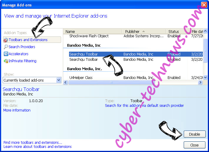 Qxsearch.com IE toolbars and extensions