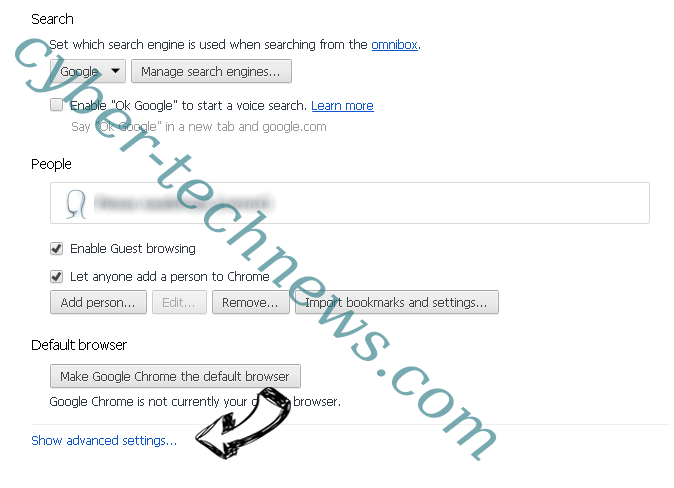 Fastmailtab.com virus Chrome settings more
