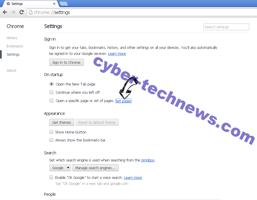 Searchmo.xyz redirect Chrome settings