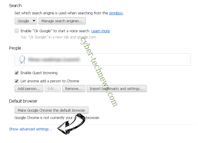 Search14.com Virus Chrome settings more