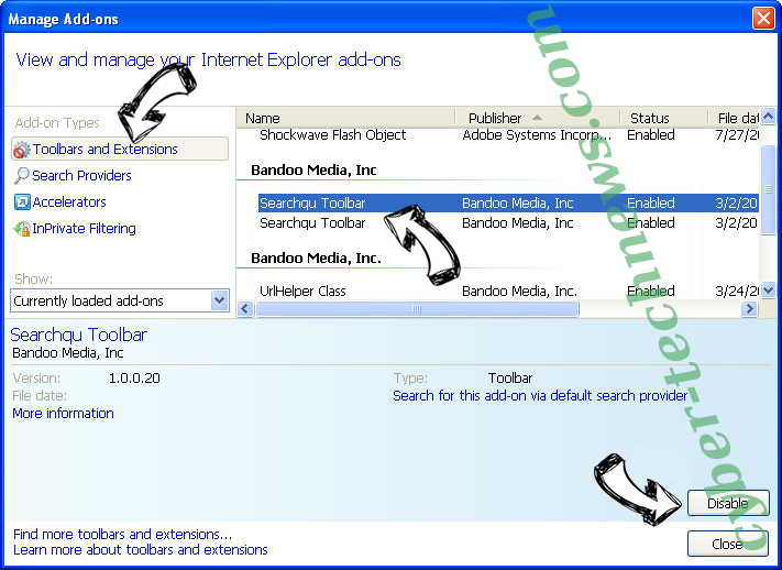 websearch.live IE toolbars and extensions