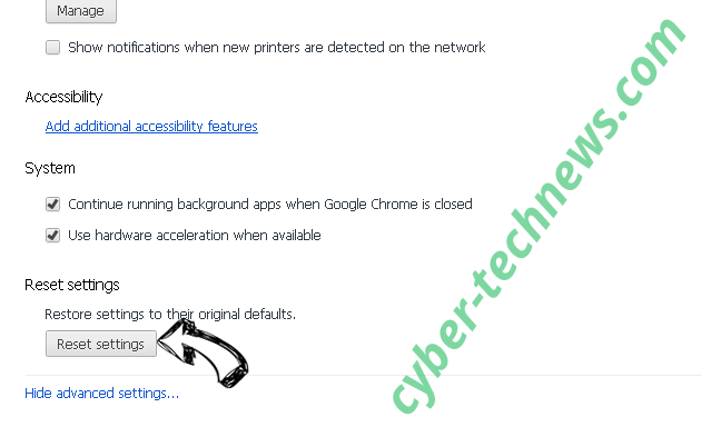 SearchPage virus Chrome advanced menu