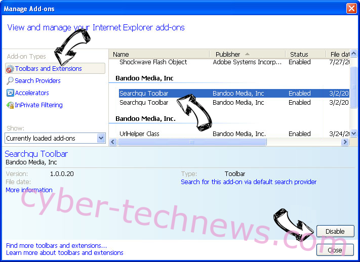 SearchPage virus IE toolbars and extensions
