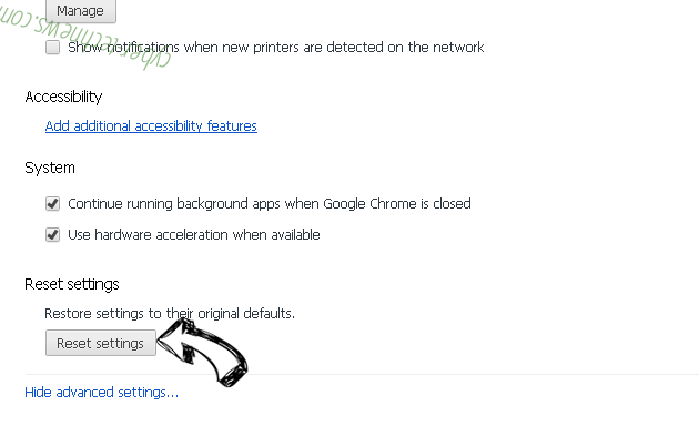 Start.yoursearch.me Chrome advanced menu