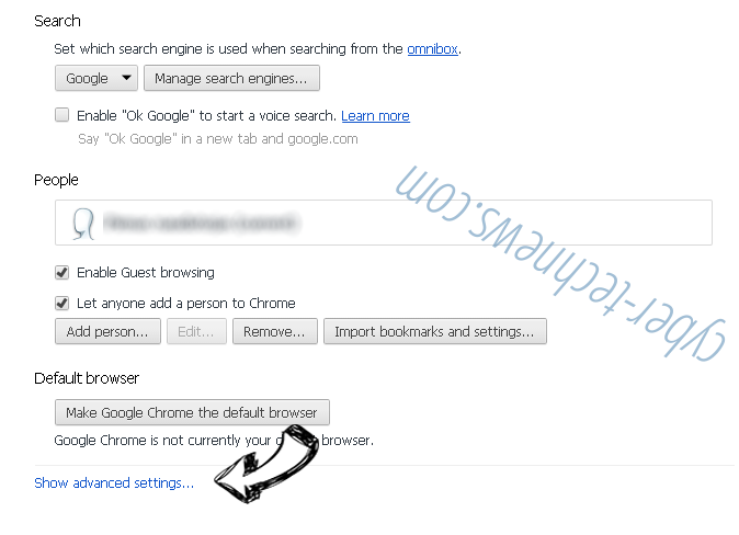 Start.yoursearch.me Chrome settings more