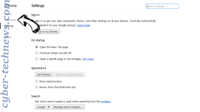 Start.yoursearch.me Chrome settings