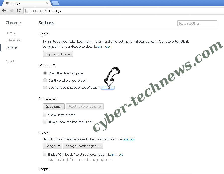 Goweb App Chrome settings