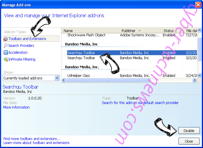 Goweb App IE toolbars and extensions