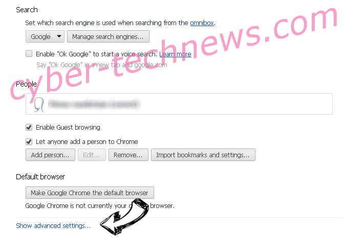 Searchet.com Chrome settings more