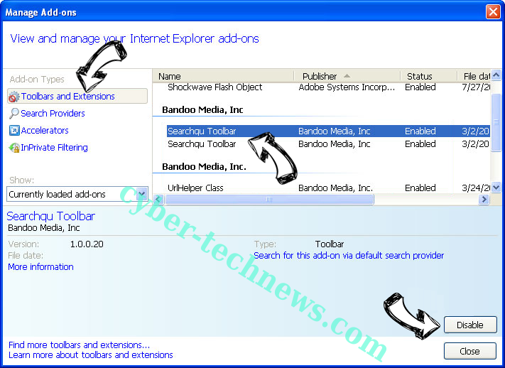 netfind.com virus IE toolbars and extensions